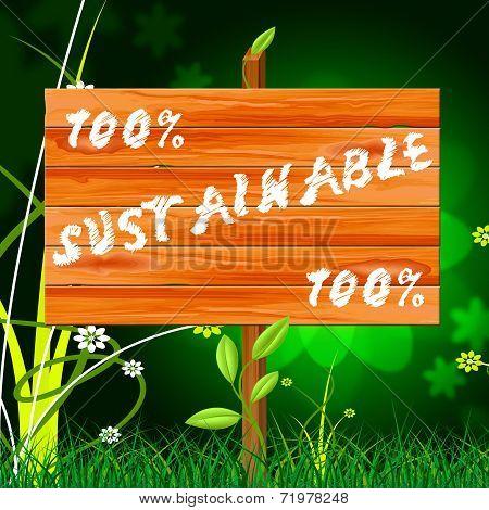 One Hundred Percent Indicates Sustainable Sustaining And Eco