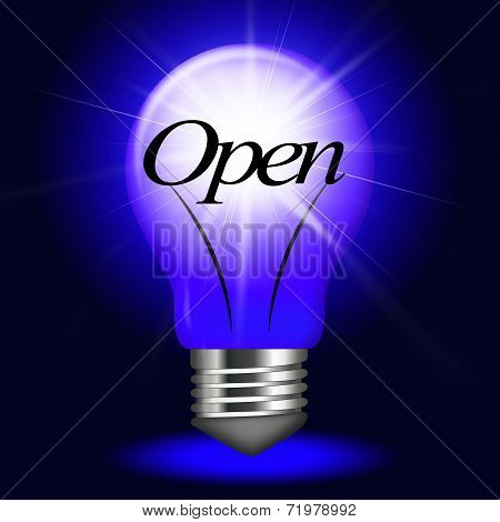 Open Lightbulb Means Beginning Launch And Inauguration