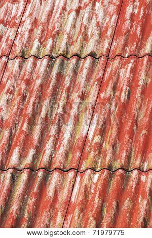Red Painted Asbestos Roof