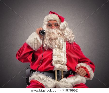 Santa Claus Receives Requests Via Telephone