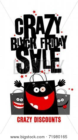 Crazy black friday sale design with shopping bags.