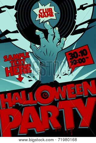 Halloween party design with hand holding vinyl in pop-art style.