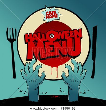 Halloween menu card design with zombie hands and moon instead of a plate.