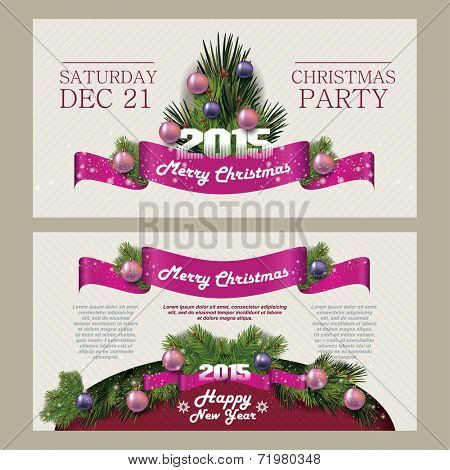 Merry Christmas and Happy New Year Card. Christmas party. 2015. Invitation Merry Christmas.Typography.