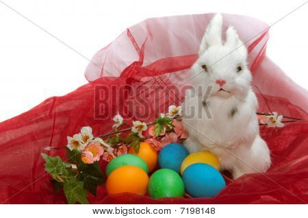 Cute Little Rabbit In Basket With Flowers