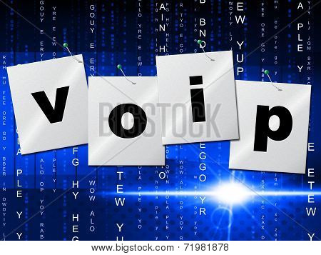 Voip Communication Represents Internet Telephony And Communicate