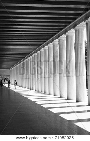 The inside of the restored Stoa of Attalos, Athens, Greece