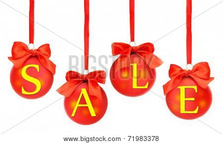 Sale concept. Beautiful Christmas balls, isolated on white