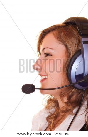 Close-up Of Woman With Headset