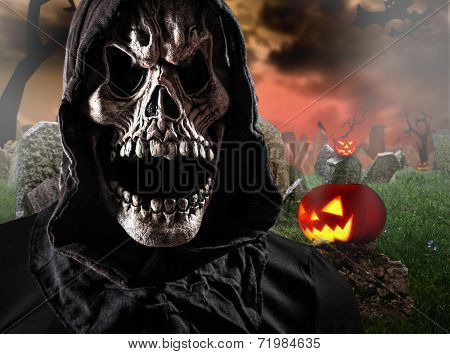 Grim reaper on graveyard, Halloween background.