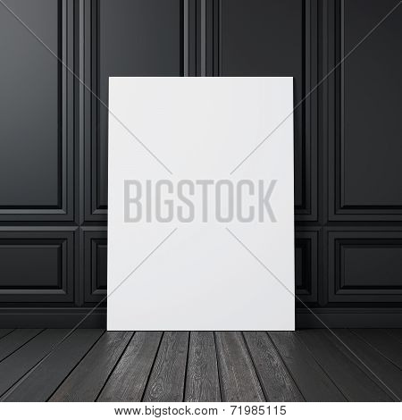 Black Wall With Blank Poster
