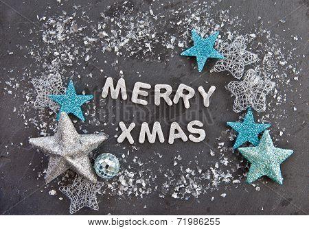 Merry Xmas On Slate Background