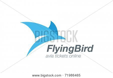 Bird abstract flying logo vector design template. Airline tickets icon. Airplane aviation company logotype concept.