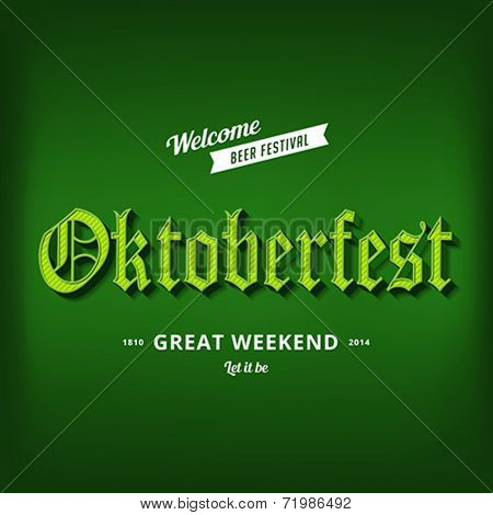 Oktoberfest festival typography vintage retro Gothic style vector design poster template. Creative 3d typo font Octoberfest typographic menu banner long shadow