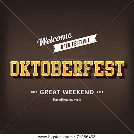 Octoberfest festival typography vintage retro style vector design poster template. Creative 3d typo font Oktoberfest typographic menu banner