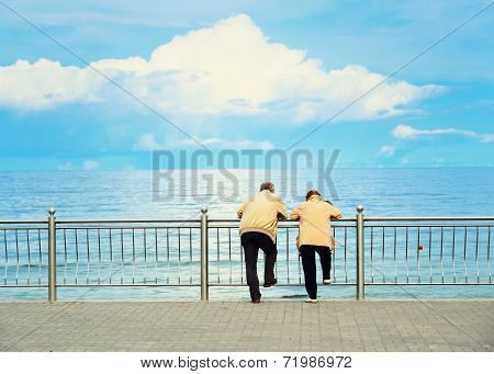 Elderly couple relaxing by the sea