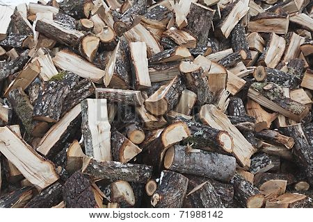 Pile of logs chopped into pieces
