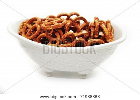 A White Bowl Of Delicious Crunchy Pretzels