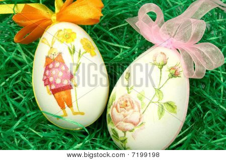 Ornate Eggs In The Grass