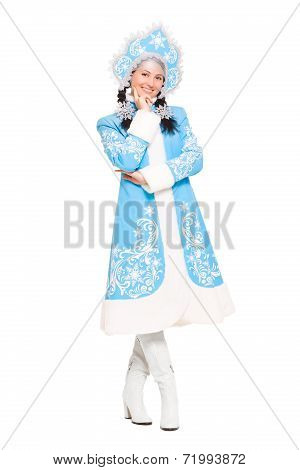 Pretty Woman In Snow Maiden Costume