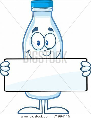 Funny Milk Bottle Cartoon Character Holding A Banner