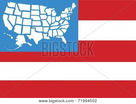 USA flag with fifty United States state maps separate as stars