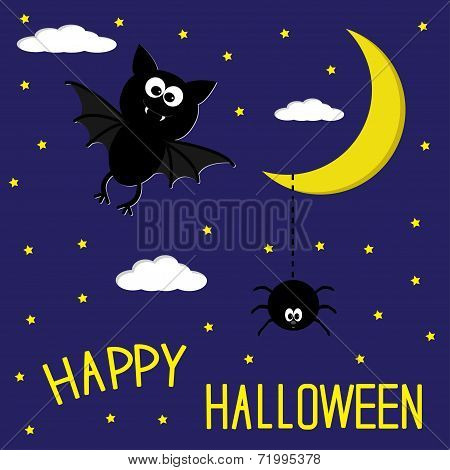 Bat And Spider. Starry Night. Moon And Clouds. Happy Halloween C