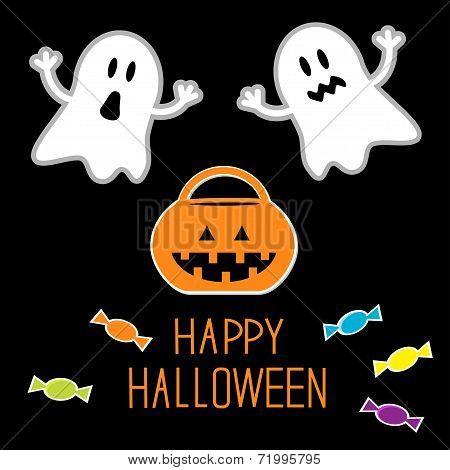 Happy Halloween Set. Ghosts, Pumpkin, Candies. Card.