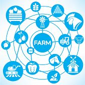 pic of truck farm  - farm and agriculture icons on blue connecting network diagram - JPG