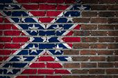 picture of flag confederate  - Dark brick wall texture  - JPG