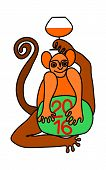 stock photo of congrats  - Happy new year 2016 with monkey figure holding a glass of cognac - JPG