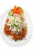 foto of catfish  - Crispy catfish spicy salad with sauce Thaifood - JPG