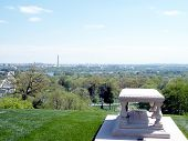 stock photo of arlington cemetery  - The Pierre Charles gravesite in Arlington National Cemetery Arlington Virginia USA - JPG