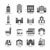 picture of fire-station  - Government building icons black set of hotel fire station hospital isolated vector illustration - JPG
