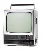 pic of televisor  - Vintage portable TV set with handle on white background - JPG