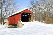 foto of covered bridge  - Pool Forge Covered Bridge with snow in Lancaster County - JPG