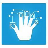 image of private detective  - finger print symbol and biometric symbol in blue square button - JPG