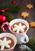 picture of hot-chocolate  - Hot chocolate with marshmallows snowflakes - JPG