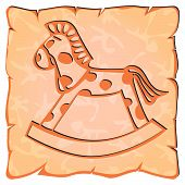 stock photo of paint horse  - good rocking horse painted on a piece of baked clay - JPG