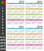 image of weekdays  - Portuguese calendar for years 2015 - JPG