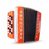 image of accordion  - Ancient red accordion isolated on white background - JPG