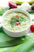 picture of leek  - Leek soup on table - JPG