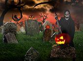 stock photo of reaper  - Grim reaper on graveyard - JPG