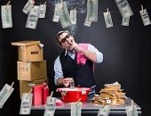 image of basement  - Businessman is laundering money in the basement - JPG