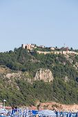 foto of cleopatra  - castle of Alanya built on rocks and beach of Cleopatra Antalya Turkey - JPG