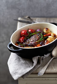 stock photo of pot roast  - Herb roast pork with roast vegetables - JPG