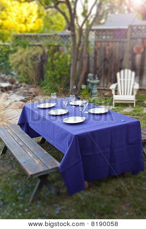 Fancy Table Setup In A Garden