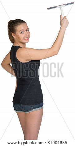 Woman using squeegee