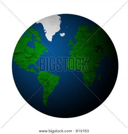 Постер, плакат: Текстурированные планеты Земля белый Bg, холст на подрамнике
