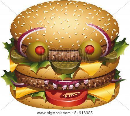 Burger's face